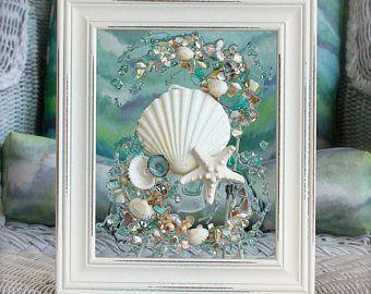Beach Glass Decor of Seashell Art, Beach Bathroom Decor Wall Hanging, Coastal Wall Art of Shells on Glass, Coastal Decor for Beach House