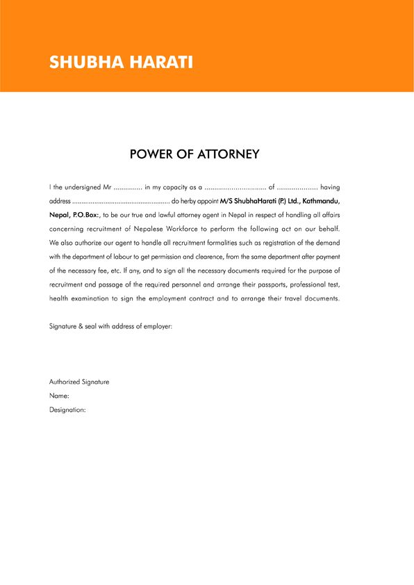 sample letter power attorney business job offer affidavit income