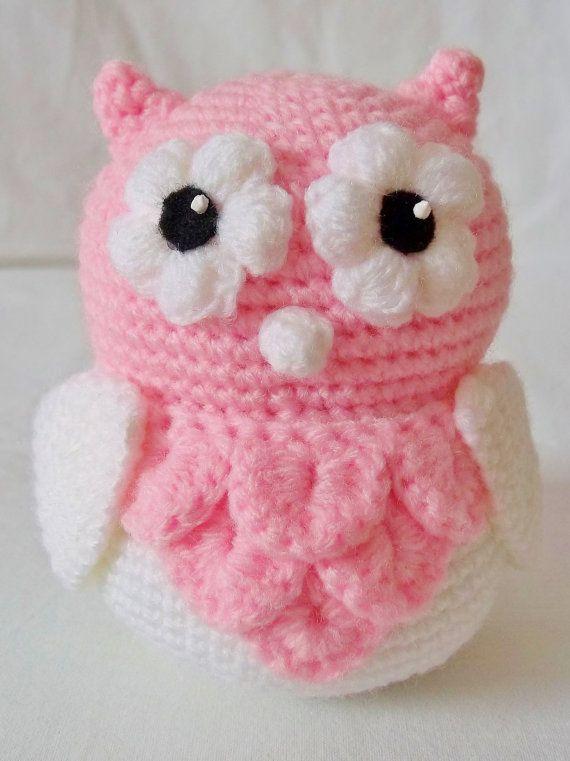 Crochet Amigurumi Cute Pink Baby Owl. $20.00, via Etsy.