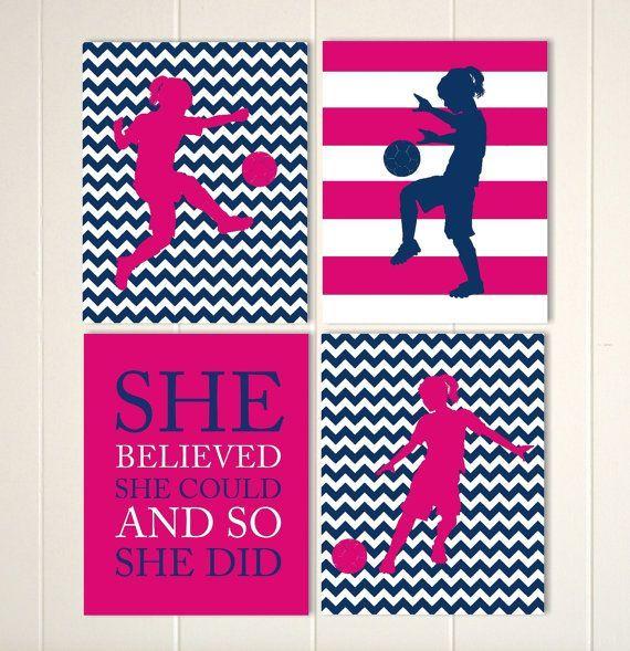 Girls soccer wall art, soccer girl, soccer quote art, girls motivational art, hot pink navy, girls room decor, choose your sports and colors