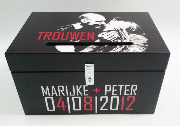 enveloppendoos passend bij uitnodiging card box / money box with photo , same as wedding invitation