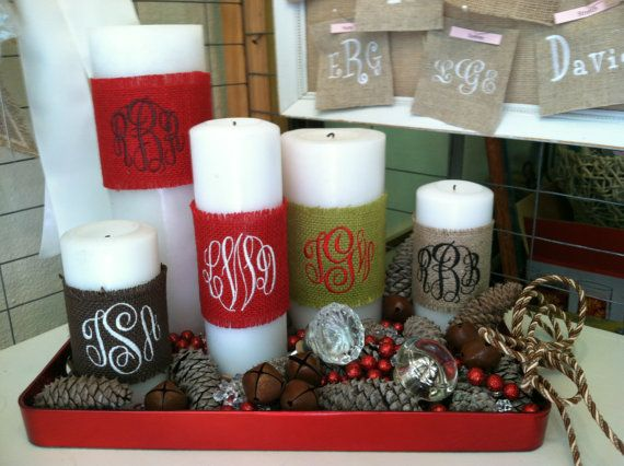 Monogrammed Burlap Candle Wraps by EmmabellasDesigns on Etsy, $9.95