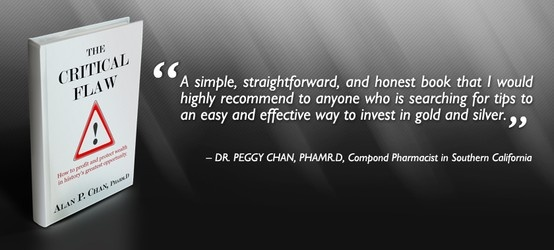 """Thank you Dr. Peggy Chan for providing an endorsement for """"The Critical Flaw: How to profit and protect wealth in history's greatest opportunity"""". Your effort is much appreciated.  Read our latest endorsements and reviews on www.thecriticalflaw.com! Enjoy!"""