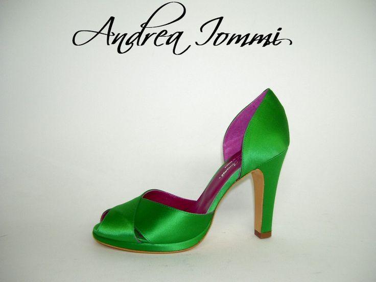 scarpe da cerimonia - open toe platform, raso verde. Tacco 9 cm.  www.andreaiommi.it