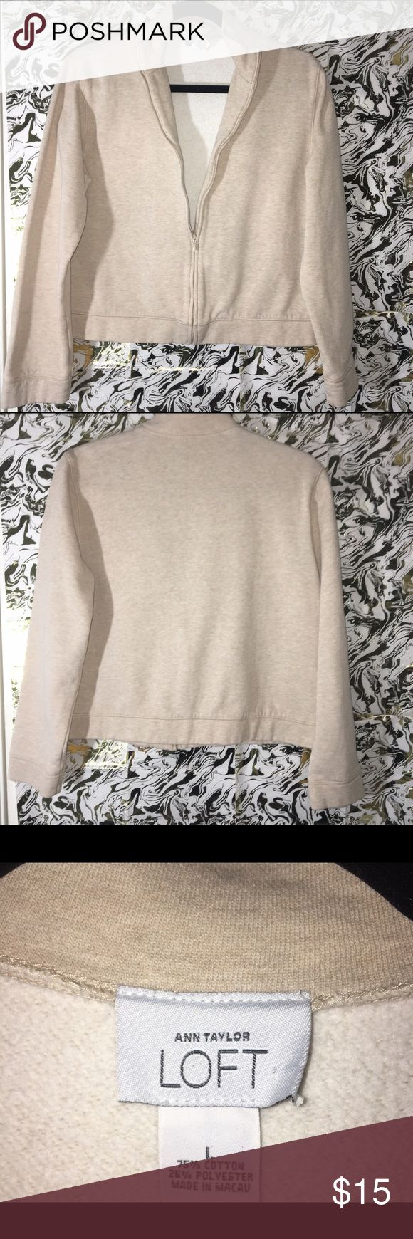 Ann Taylor Loft Zip-up Sweatshirt Cream zip-up sweatshirt with sliver colored hardware. Fabrication- 75% Cotton 25% Polyester  Condition- Great 👍 Ann Taylor LOFT Tops Sweatshirts & Hoodies