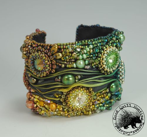 Aurora Cuff | Shibori silk ribbon, brass encased leather cuff, seed beads, pearls | Good Quill Hunting