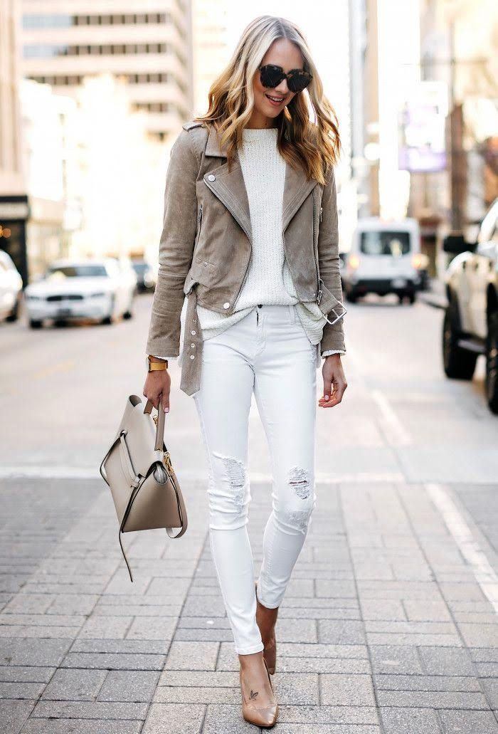 100 Best Outfit Ideas Part49 Outfit Ideas Outfitideas In 2020 White Leather Jacket Outfit Coloured Leather Jacket White Leather Jacket