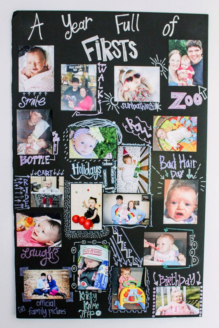My version of A Year of Firsts Board! Displayed at Lucy's 1st Birthday Party! I'm pretty proud of it!