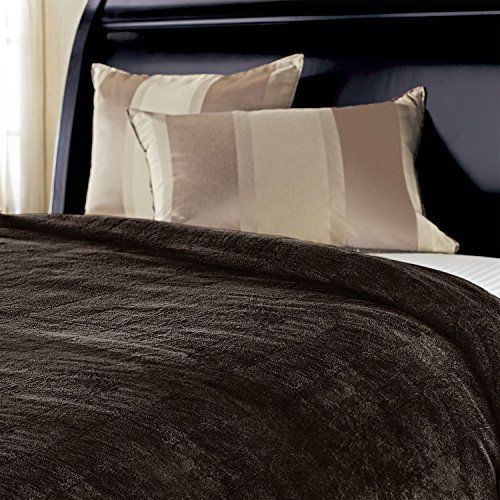 heated Throw Blanket Soft Fleece machine-washable 3-hour auto-off shutoff Walnut #Sunbeam