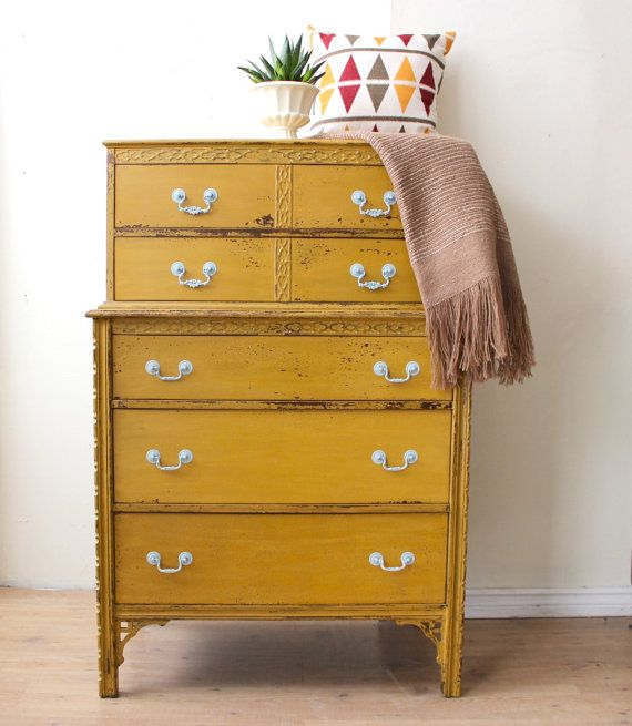 Mustard Yellow Tall Boy Dresser - painted with Milk Paint  on Etsy, 467,50 €
