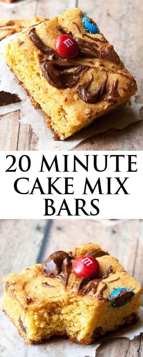 These quick and easy CAKE MIX BARS are made with a few simple ingredients in a single bowl in only 20 minutes. These simple cake mix bars are loaded with chocolate chips, candies, Nutella and peanut butter.  Great as a snack or dessert! From http://cakewhiz.com