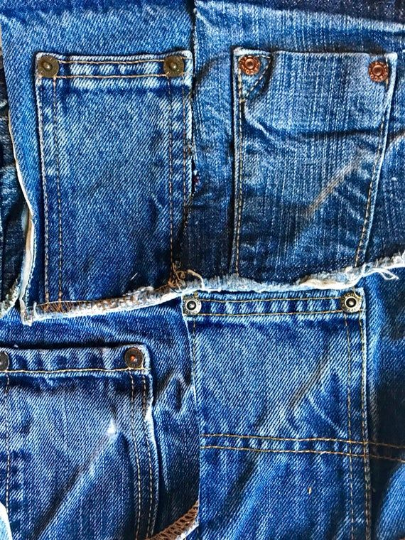 RepurposedReclaimed 10 Coin Pockets from Blue Denim Jeans