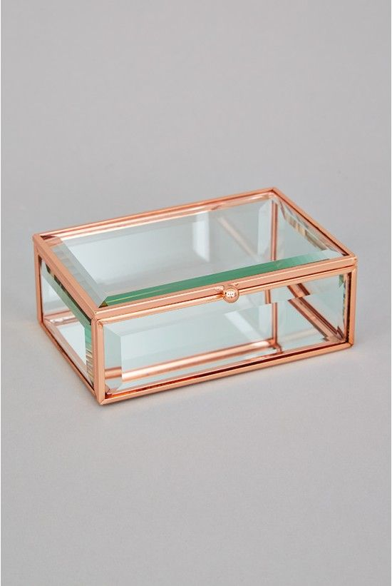 Oola Rose Gold Glass Jewellery Box