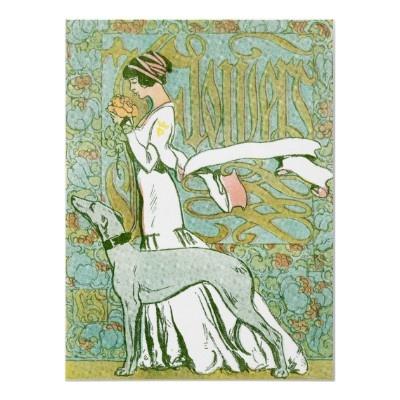 <3 De Windhond en de Dame van de Jugendstil met Bloem Print