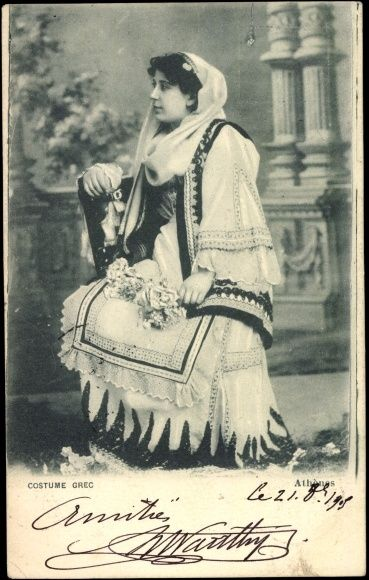 Old Postcard, Greece, Woman in National Costume, Postmarked 1905.
