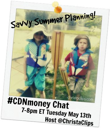 #CDNmoney is a weekly Twitter Chat hosted by @Hollie Pollard and @Christa Clips: Save-at-Home-Mom. Join us for an hour of money saving tips & tricks to help you embrace a more frugal lifestyle!  On Tuesday, May 13th we'll be discussing Savvy Summer Planning with practical ways to have a fantastic summer without breaking the bank!