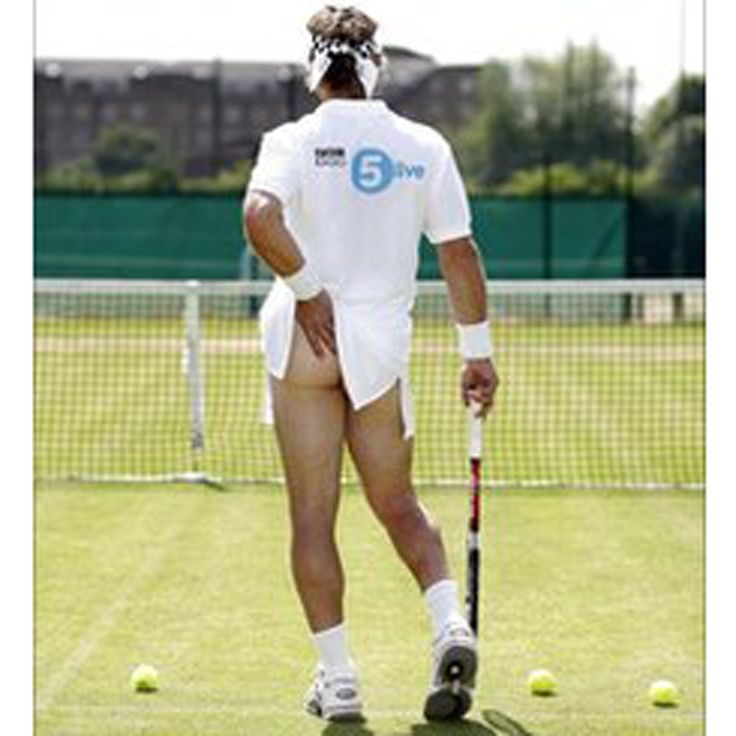 Pat Cash Apologies for the image quality, but it's probably for the best, eye-bleach wise. Pat Cash here throws off his usually shy persona to recreate the Tennis Girl pose for a short advert publicising BBC 5 Live.