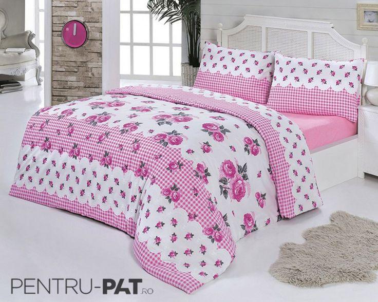 Set cuvertura pat pentru doua persoane Anatolia pink