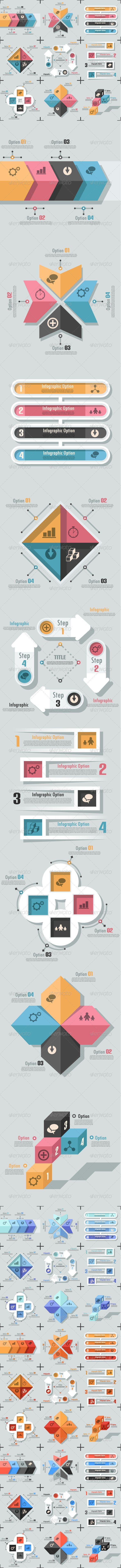 Set Of 9 Flat Infographic Options Templates #design #infografik Download: http://graphicriver.net/item/-set-of-9-flat-infographic-options-templates/7058119?ref=ksioks