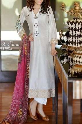 White Pakistani Suit by Riffat & Sana