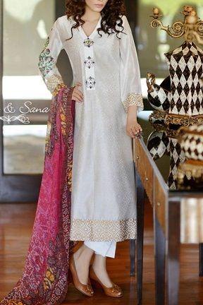 White Pakistani Suit by Riffat & Sana