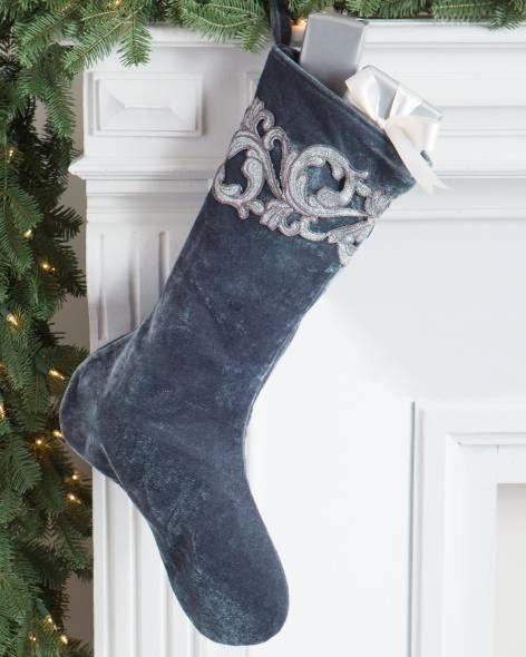 French Blue Velvet Stocking by Balsam Hill