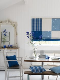 Fresh classic Blue and White kitchen Swedish Blinds made with a patchwork of Moghul fabrics Jinda