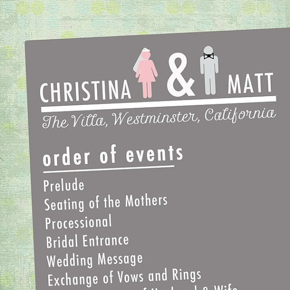chic, double-sided wedding program w/ couple questionnaire.