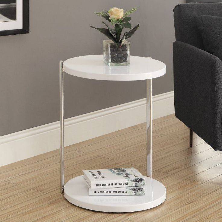 Monarch I 3056 Metal Accent Table   White / Chrome   I 3056