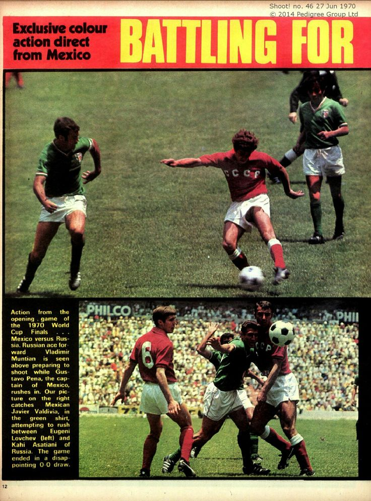 Mexico 0 USSR 0 in 1970 in Mexico City. Action from the Group 1 game at the World Cup Finals.