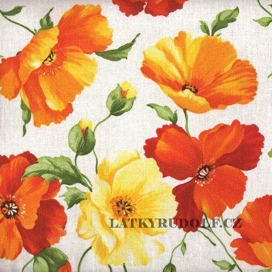 Látka Vlčí máky oranžové 100281 > šíře 165cm