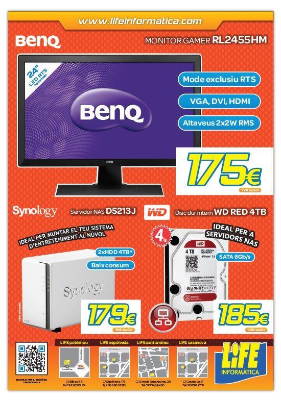"""Monitor BENQ 24"""" LED RTS por 175€ IVA incluido, Servidor NAS Synology DS213J por 179€ IVA incluido y Disco duro WD RED de 4TB por tan solo 185€ IVA incluido."""