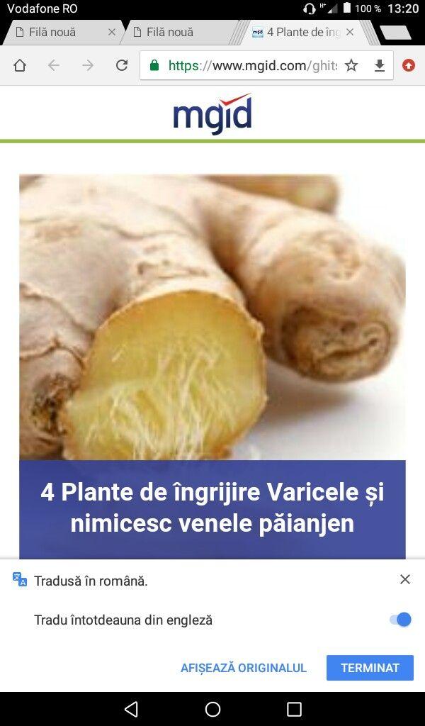 ginger împotriva retetei varicoase