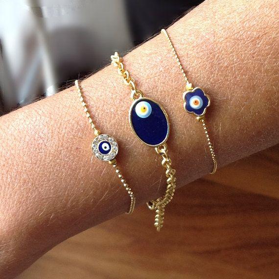 Evile eye Chain Bracelet Evil eye Jewelry Chain by CharmByIA
