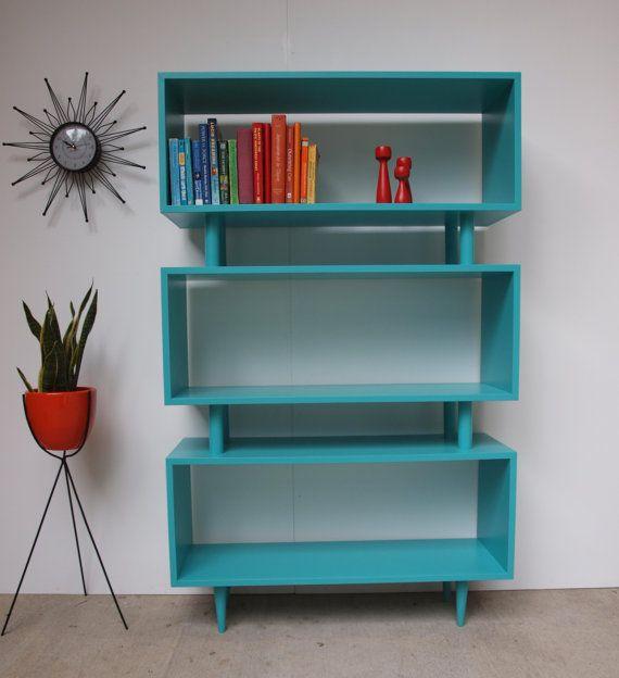 MCM Turquoise shelves - (interior design, midcentury, decor, furniture, color, aqua, teal, books)