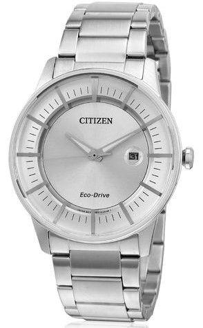 Montre Citizen Eco-Drive AW1260-50A, boîtier et bracelet en acier avec fonction date.