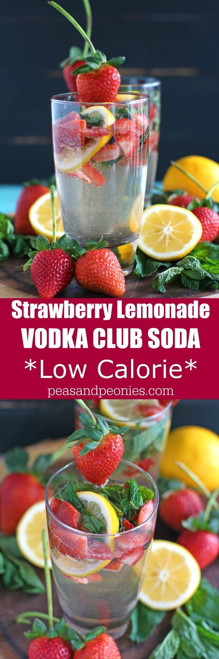 Strawberry Lemonade Vodka Club Soda is a low calorie and flavorful drink loaded with fresh strawberries, Meyer lemon and fresh mint leaves.