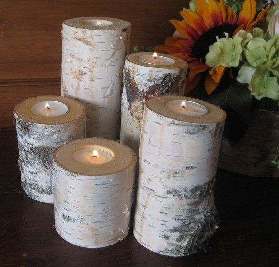 These are a great centerpiece to use to decorate your home. A wonderful way to bring the outside in! The birch candle holders measure 6,5,4,3 and 2high. The diameter is approx 3. Included are the tea lights.  Thanks for visiting my garden!  Are you new to Etsy? Click here to make your first purchase: http://www.etsy.com/help_guide_checkout.php  To get back to my Etsy shop, just click http://www.mygardengate.etsy.com