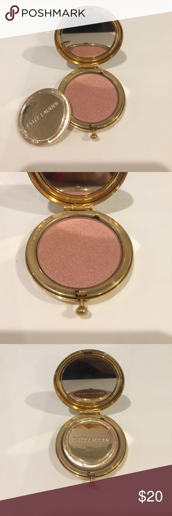 Tiny Estée Lauder compact blush. Barely used. Dainty lady like compact. Press button to open with mini puff and mirror. Blush in gold Pearl color. Barely used. All offers welcome. Estee Lauder Makeup Blush