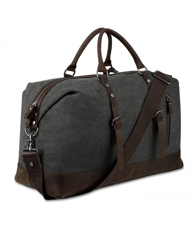 Weekender Overnight Bag Canvas Genuine Leather Travel Duffel Tote - Dark  Grey - C212BVJBPK9  Bags  handbags  gifts  Style  Duffle Bags a8cad87963995