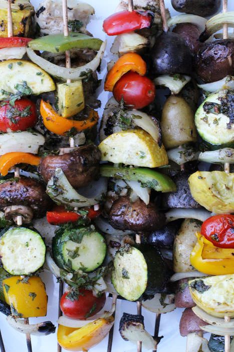 Grilled vegetable shish kebabs with Middle Eastern spices in a light marinade | Mother Would Know
