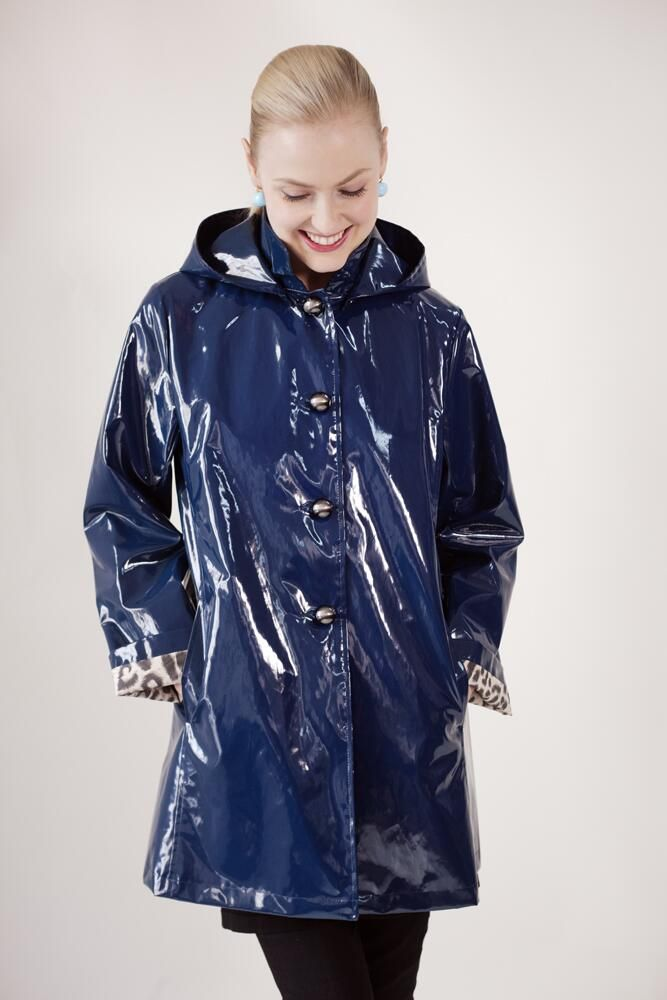 Jane Post Shiny Blue Pvc Raincoat Raincoat Pinterest