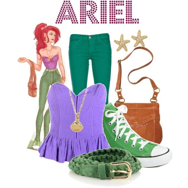 """Hipster"" Disney princess looks. Click on the link to see more.   ""Ariel"" by agust20 on Polyvore"