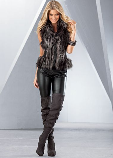 Multi Faux Fur Vest, Faux Leather Leggings and Thigh High Stretch Boots...so hot!!!  :)