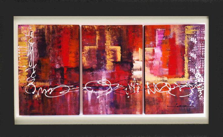 HK Nights Tríptico / Acrílico sobre tela 3 modulos de 60 cm x 40 cm