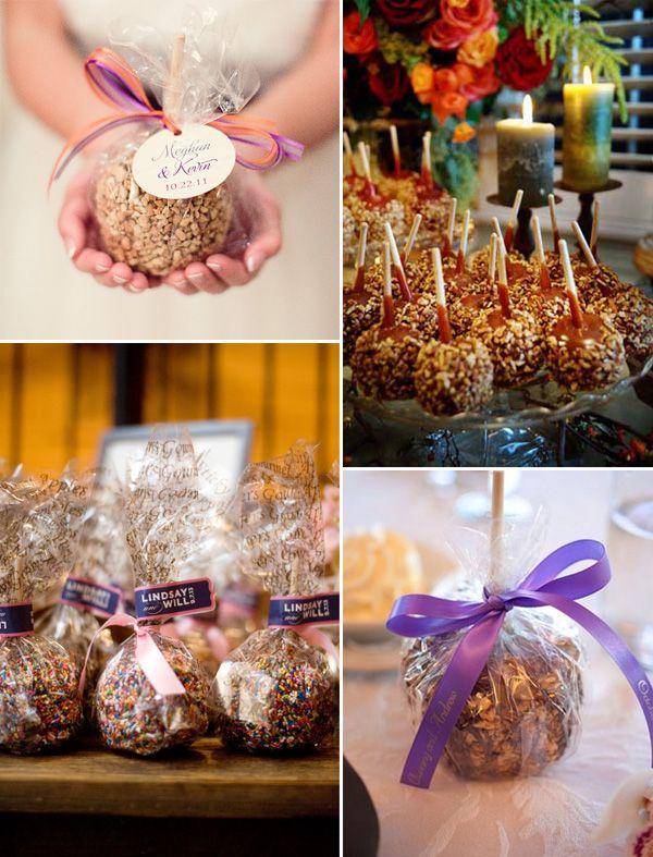 fall wedding ideas-Caramel Apples country rustic fall wedding favors 2014