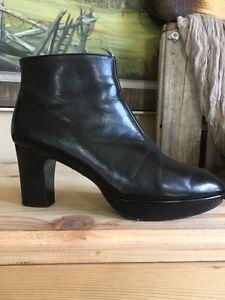 Robert Clergerie France Short Ankle Boots Gloved Leather Heel Size 7 Platform  | eBay