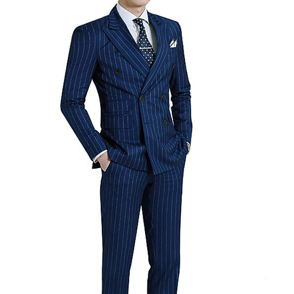Navy pinstripe suit tailored to your exact measurements.