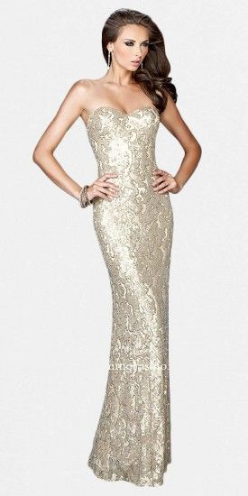 This strapless metallic prom dress by La Femme has a brocade print made out of sequins and a slinky silhouette. With a ....Price - $398.00 - ZKIDAKhQ