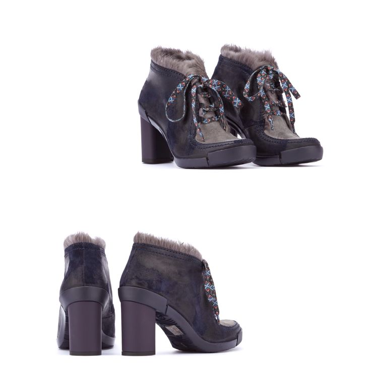 FABI WINTER SHOES 2014-2015 Waxed suede effect leather lace-up ankle boots, two-tone. Merino shearling details. Majolica patterned laces. 70 mm rubberised heel, rubber sole. Color ARRAY Material SUEDE LEATHER